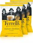 Tyrrells Mature Cheddar & Chives -perunalastut, 3 x 150 g